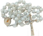 Woman Rosary Murano Crystal Glass White Rosaries From Medjugorje + Gift Box
