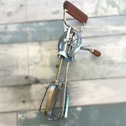 Ekco Egg Beater Vintage Wooden Handle Hand Mix Stainless Steel Usa