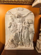 Old Marble Station Jesus Christ With The Cross Nice Carving Sculpture