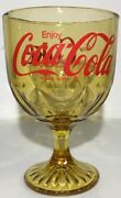 9vintage Coca Cola Pedestal Cup Pressed Amber Glass Goblet Coke Collectible Cup