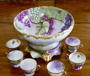 Limoges Punch Bowl Cups Each And Every Piece Is Artist Signed Statement Piece