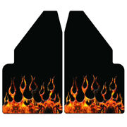 Universal 14 Wide Rear Hydro Dipped Flame On Flames Mud Flaps Stainless Anchor