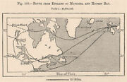 Route From England To Manitoba And Hudson Bay. Canada 1885 Old Antique Map
