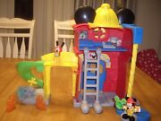 Euc Disney Mickey Mouse Clubhouse Firehouse Playset Sounds Lights