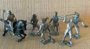 Vintage Marx 54mm Knights From Knights And Vikings Playset Black Horse 7 Pcs