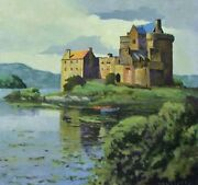 Original Oil By Max Hayslette Titled Scottish Lake Tower Castle 14w X 14h