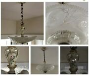 Porcelier Antique 16andrdquo Frosted Glass Shade Ceiling Light Fixture Chandelier