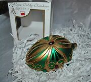 New Vitbis Mouth Blown Glass Faberge Egg Ornament Green/gold Ruby Crystals Pl