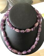 Vintage Chinese Long Heavy Barrel Hexagonal Disc Natural Amethyst Bead Necklace