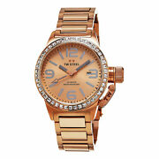 Tw Steel Womenand039s Canteen Rose Gold Tone Stainless Steel Quartz Date Watch Tw305