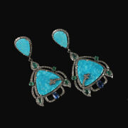 Turquoise Gemstone 925 Silver Pave Diamond Dangle Earrings Antique Look Jewelry
