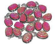New Lot 200 Pcs. Natural Pink Opals 925 Sterling Silver Plated Pendant Jewelry