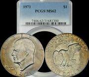 1971 Eisenhower Dollar Ike Bu Pcgs Ms62 Brown Toned Coin In High Grade