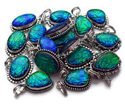 New Lot 200 Pcs. Natural Australian Opals 925 Sterling Silver Plated Pendant