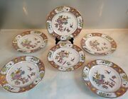 6 Assiettes Famille Rose19eme/chine/6 China Plates Enamel Famille Rose 19th