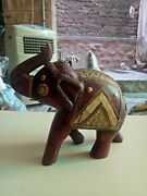 Wooden Elephant Vintage Brass Bone Fitted Figurine Statue Indian Home Decor Art