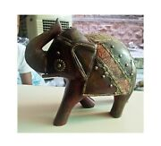 Wooden Elephant Brass Fitted Figurine Statue Vintage Old Indian Decor Art