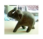 Wooden Elephant Brass Fitted Figurine Vintage Old Statue Indian Decor Art