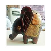 Wooden Elephant Brass Bone Fitted Vintage Old Figurine Statue Indian Decor Art