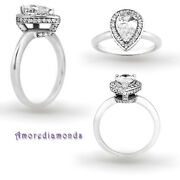 1 Ct I Si2 Natural Pear Shape Diamond Antique Halo Engagement Ring White Gold