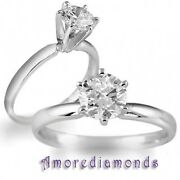 0.5 Ct Gia F Vs Round Ideal Cut Diamond Solitaire Engagement Ring 14k White Gold