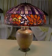 Authentic Northeastern Lamp And Bronze Co Purple Shade W. Cloisonne Base
