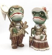 Unique Frog Boy And Girl Wood Figure Russian Hand Carved Hand Painted Artwork