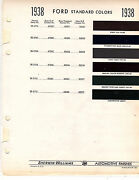 1936 1937 1938 Ford 36 37 38 Color Paint Chips 38 Sherwin Williams 6pc