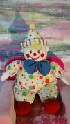Eden Vintage Musical Clown Plush Doll Toy It's A Small World Song White Dots Red