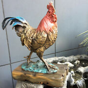 Bronze Art Deco Sculpture Chicken Rooster Chook Statue Figurine S17