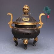 China Pure Bronze 24k Gold Silver-gilt Dragon King Dynasty Palace Incense Burner