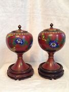 Pair Of Antique 19c. Chinese Cloisonné Red Jars Lid Vases 9.5 Mahogany Stands