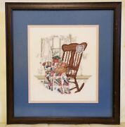 Completed Cross Stitch Custom Framed Rocking Chair Fan Quilt Scene