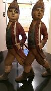 Rare Colonial Period Hand Painted Cast Iron Fire Dogs