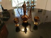 Antique Hand Etched And Painted Solid Brass Liquor Decanter And Shot Glasses