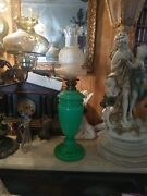 Stunning Large Green Mid 1800s Oil Lamp Rare And Gorgeous