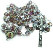 Woman Rosary Crystal Glass Mixed Pink Color Rosaries From Medjugorje + Gift Box