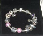 Nib Pandora 925 Silver Bracelet With14 Charms Beads Love And Hearts, Amethyst