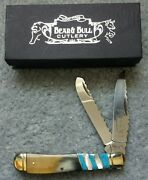 Bear N Bull Trapper Oxhorn/blue/mother Of Pearl Knife 4.25 Frost Cutlery