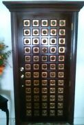 Architectual Salvage Brass And Copper Inlay Mahogany Door 36in X 79.5 In