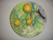 Palissy Majolica Barbotine French Antique Plate Rare. Longchamp. France