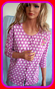 New S Merona Purple Pink White Embellished Knit Sweater Button Cardigan Top