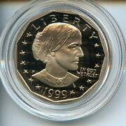 1999-p Proof Susan B. Anthony Dollar Nice Coin In Original Capsule W/ Box And Coa