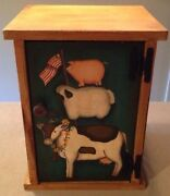 Vintage Country Cabinet Farm Animals American Flag Kitchen/bath/pantry 16.5