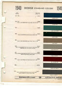 1940 Dodge Deluxe Luxury Liner D14 D17 Special Paint Chips Sherwin Williams 11pc