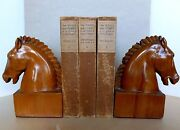 Neoclassic Horse Head Bookends Wood Sculpture Italian Mid-century C.1940and039s