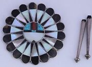 Old Native American Zuni Gem Turquoise Inlay Sterling Sun Face Kachina Bolo Tie