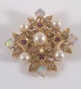 Edwardian Antique 18ct Gold Diamond Ruby And Opal Pendant/brooch, 9.3 Grams.c1910