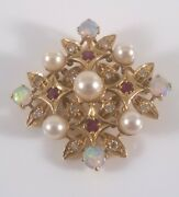 Edwardian Antique 18ct Gold Diamond Ruby And Opal Pendant/brooch 9.3 Grams.c1910