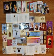 Nice Lot Unused Religious Prayer Cards-many W Medallions Rosaries Medals Jewelry